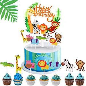 Queta Jungle Animal Cake Topper 35 Stück + Happy Birthday Dschungelkranz, Zoo/Jungle Theme Geburtstagstorte Dekoration, Baby Shower Party Geburtstagsparty DIY Cute Cake Cake Dekoration