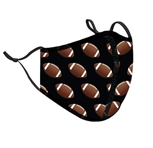 Top Trenz Kids Face Wrap Cloth Reusable Fashion Mask Small (Ages 3-7) (Small, Football)