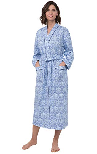 PajamaGram Printed Knit Bathrobe Womens - Womens Long Robes, Blue, XL/1X, 18-20
