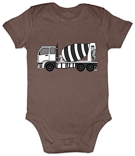 HARIZ Baby Body a maniche corte con miscelatore di calcestruzzo per bambini baga, con bigliettini regalo, colore marrone cacao 6-12 mesi