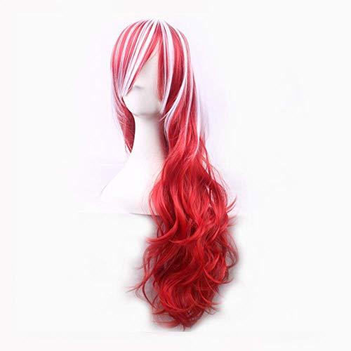 LDSBGJ Parrucca vento doppio colore sfumato lunghi capelli ricci dolce Harajuku parrucca multicolore rossa e bianca
