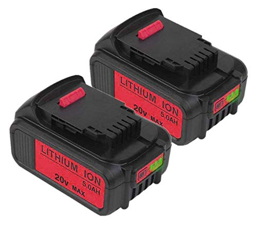 2Packs 5.0Ah DCB205 Battery Replacement for Dewalt 20 Volt Battery DCB200 DCB206 DCB206-2 DCB204 DCB204BT-2 DCB203 DCB201 Batteries with LED Light Indicator