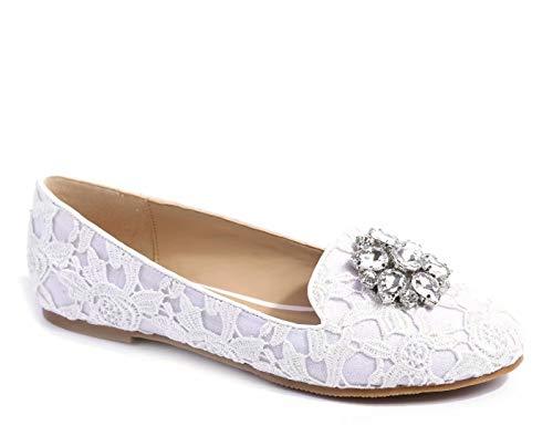 MaxMuxun Damen Geschlossene Schleife Beqeueme Office Beruf Flache Schuhe Weiß Größe 38 EU