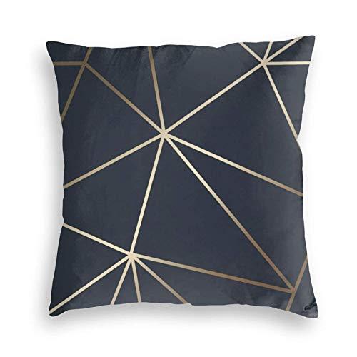 MayBlosom Zara Shimmer - Fundas de cojín cuadradas de terciopelo suave, color azul marino y dorado con cremallera invisible de 45,7 x 45,7 cm