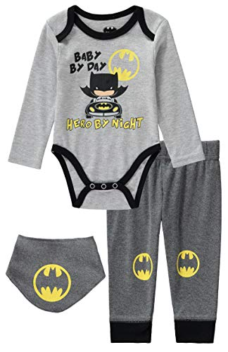 DC Comics Batman 3 Piece Infant Baby Boys Long Sleeve Bodysuit with Pull on Pants and Bibs Grey/Yellow 6-9 Months