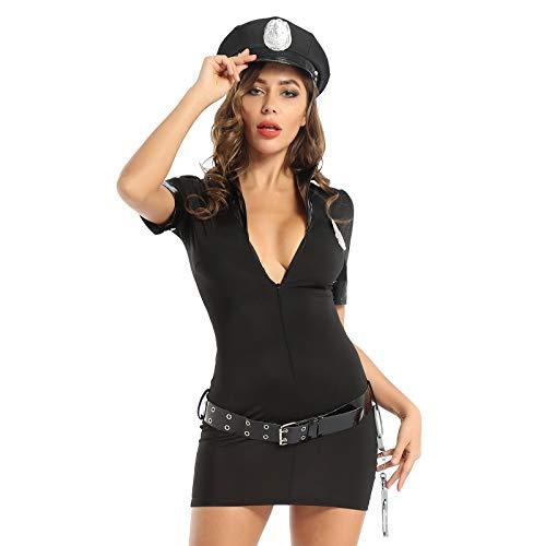Aislor Sexy Disfraz de Polica para Mujeres Lencera Ertica Traje de Piel Mirada Mojada Cosplay de Polica con Gorro Cinturn Policewoman Role Play S-3XL Negro S