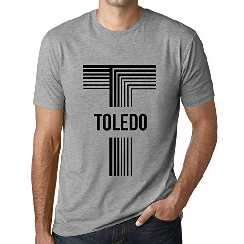 One in the City Hombre Camiseta Vintage T-Shirt Gráfico Letter T Countries and Cities Toledo Gris Moteado