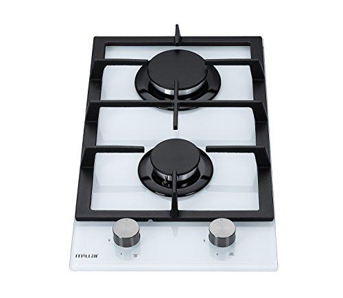 Millar GH3020TW Plaque de cuisson en Verre trempé avec 2 brûleurs à gaz Blanc 30 cm/Table de Cuisson