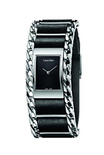 Calvin Klein Damen Analog Quarz Uhr mit Leder Armband K4R231C1