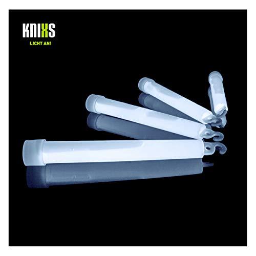 KNIXS 25er Pack Power-Knicklichter/Knicklicht (15cm) inkl. Spezialhaken und Befestigungsband - gletscherweiß / weiß Leuchtend für Party, Festival, Outdoor oder als Dekoration