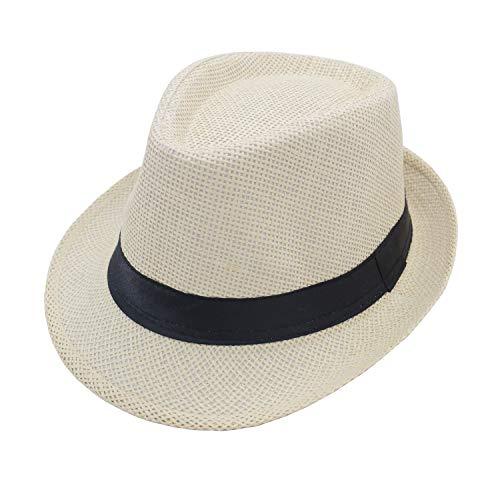 JEEDA Panama Fedora Trilby - Sombrero de paja para hombre y mujer, sombrero de fieltro para hombre y mujer JSCM Blanco M