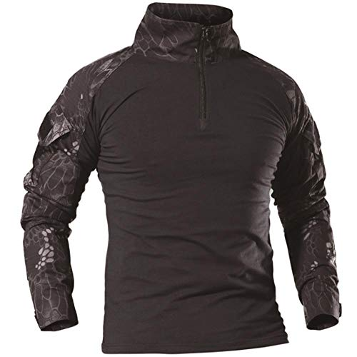 AKARMY Men's Tactical Military Army Combat T-Shirt Long Sleeve Slim Fit Camo Shirt with 1/4 Zipper PLY11 Black Python