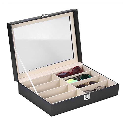 Étui de lunettes de soleil de stockage de lunettes avec 8 emplacements pour support et affichage Lunettes de soleil Montres Bijoux 33,5 * 24,5 * 8,5 c