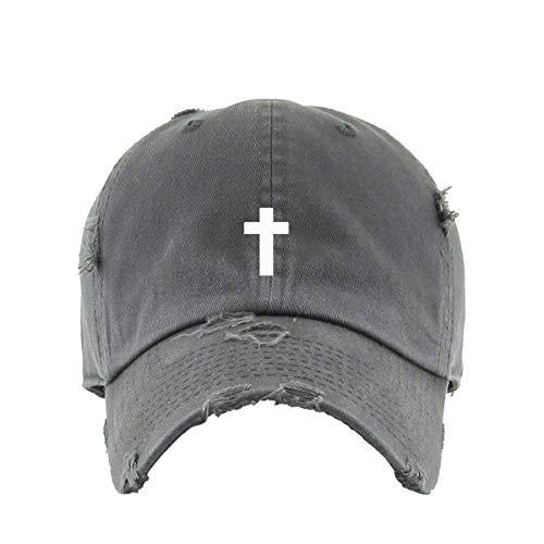 Cross Vintage Baseball Cap Embroidered Cotton Adjustable Distressed Dad Hat Dark Grey