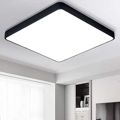 BRIFO 60W LED Deckenleuchte Dimmbar, Modern Lampe Design, Deckenlampe für Flur,Wohnzimmer,Büro,Küche,Energie Sparen Licht, Dimmbar (3000-6500K) Mit Fernbedienung (Schwarz 60W Quadrat Dimmbar)