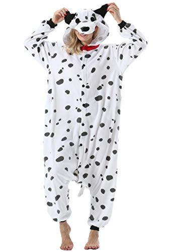 Mujer Hombre Pijama Animal Entero Unisex para Adultos con Capucha Cosplay Pyjamas Ropa de Dormir Traje de Disfraz para Festival de Carnaval Halloween Navidad Perro Manchado para Altura 148-187cm