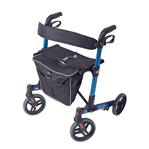 NRS Healthcare Kompakter, leichter Rollator mit 4 Rädern, zusammenklappbar, mit Sitz, Rückenlehne und abnehmbarer Tasche, elektrisch blau, kompakt