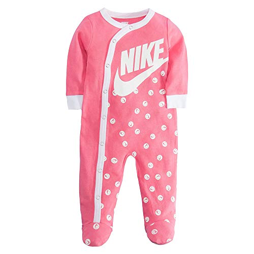 NIKE Infant/Toddler Printed Footed Coverall (Pink(56D679-A5K)/White, 3 Months)