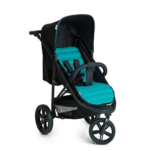 Hauck Rapid 3 Dreirad Buggy bis 25 kg mit Liegefunktion ab Geburt, klein zusammenklappbar, Einhand-Faltmechanismus, höhenverstellbarer Schiebegriff, caviar turquoise (schwarz türkis)