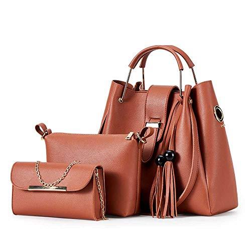 Damenmode Handtasche One-Shoulder-Schrägtasche PU-Leder mit großer Kapazität Damenhandtasche Tasche Tasche Set 3 Stück
