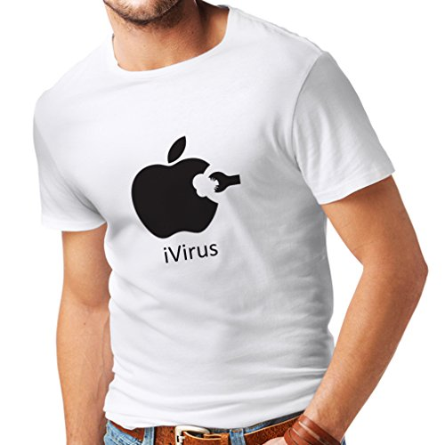 lepni.me Camisetas Hombre iVirus - Regalo Divertido del Amante de la Nueva tecnología (XX-Large Blanco Negro)