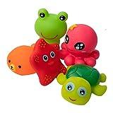 WFF Spielzeug Baby-Bad-Spielzeug for 6 Monate und Kinder, Sicherheit Gummi Badeente Spielzeug-Set 5X weich und haltbar, kann klingen Kinder Spielzeug (Color : Animal)