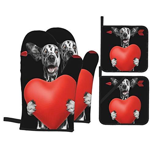 Ofenhandschuhe und Topflappen 4er-Sets,Netter dalmatinischer Hund verliebt Sich am Valentinstag isoliert auf schwarzem,Handschuhe mit widerstandsfähigen heißen Pads zum Kochen,Kochen,Backen,Grillen