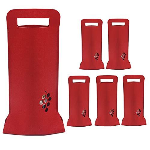 Weinbeutel Rot, 6 Stück Filz Weinflaschentaschen mit Griff Weintasche für Hochzeit, Geburtstag, Weinblindverkostung, Weihnachts und Partyfestbevorzugungen