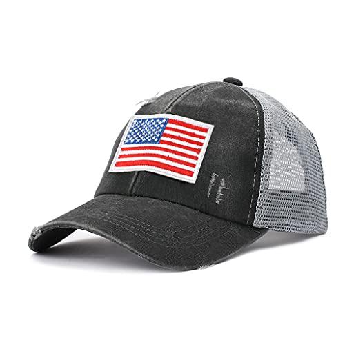 MYBOON Gorra de béisbol Sombrero Bordado con Cola de Caballo Protección Solar Unisex Día de la Independencia Patrón de Gorra de Verano Opcional, 棒球 帽, Gris Oscuro