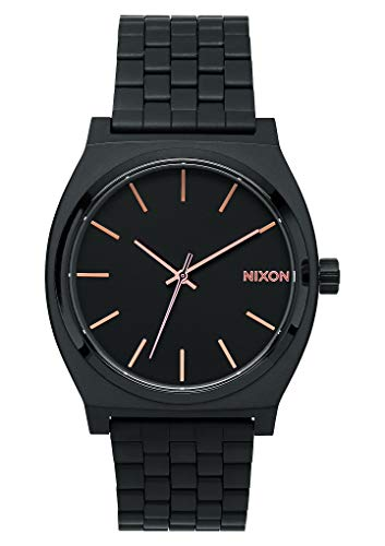 Nixon Time Teller Herrenuhr Analog Quarz mit Edelstahl Armband All Schwarz / Rose Gold