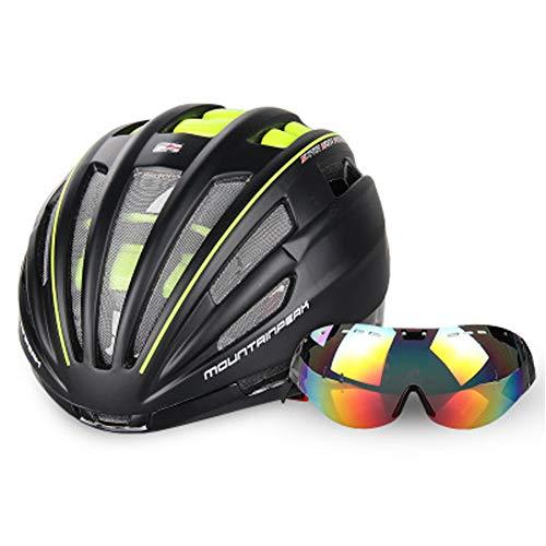 Fietshelm voor heren en dames met bril, Bike Racing Helm Bril 2 vizier kiezen, aerodynamisch design Lichte fietshelmen (57-62cm)