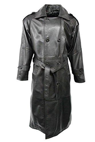 Smart Range Herren Mantel Schwarz EchtschafslederGanzkörperansicht Lang Duster DB Trenchcoat (XXL, Black)