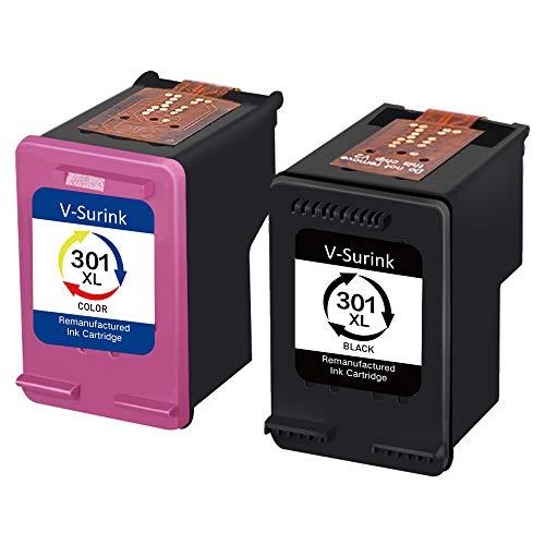 Confezione da 2 cartucce di inchiostro rigenerate V-surink per HP 301XL Envy 4500 5530 Deskjet 1000 1010 1512 1510 Officejet 4630 2620 4635 Stampante, Mostra livello inchiostro (1 nero e 1 colore)
