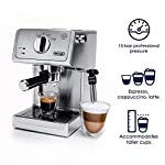 """De'longhi bar pump espresso and cappuccino machine, 15"""", stainless steel 10 15 bar professional pressure assures quality results every time second tier drip tray to accommodate larger cups removable 37 ounce water tank. Full stainless steel housing"""