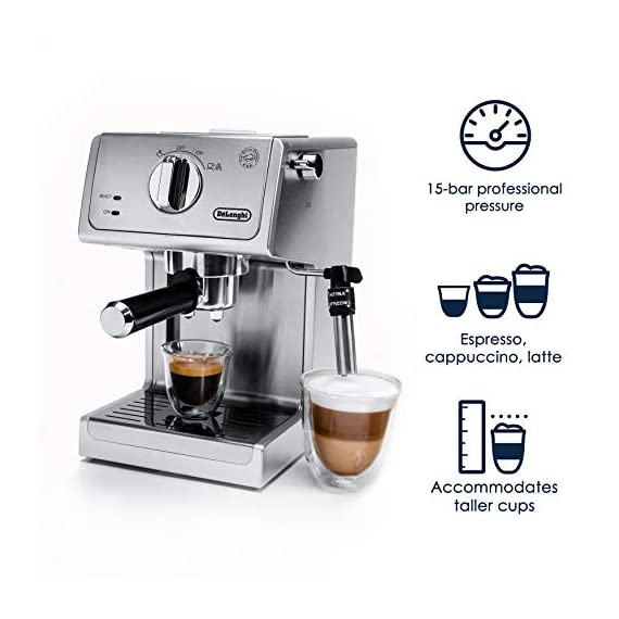 """De'longhi bar pump espresso and cappuccino machine, 15"""", stainless steel 2 15 bar professional pressure assures quality results every time second tier drip tray to accommodate larger cups removable 37 ounce water tank. Full stainless steel housing"""