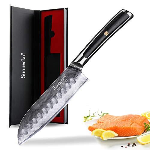 Sunnecko Santokumesser - 13cm Damastmesser Multifunktional Küchenmesser - Japanischer VG-10 Cored & 73-Schichten Damaststahl Klinge & G10 Griff für Haushaltsküchen - Elite Series.