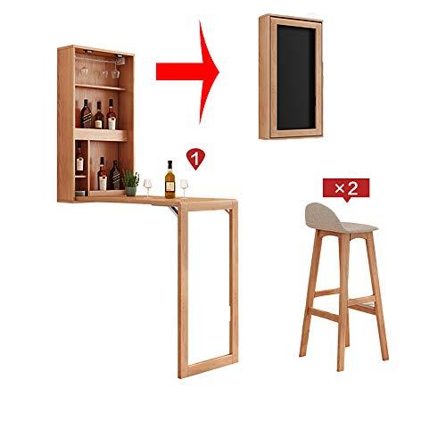 VBARV Montado en la Pared Mesa de Bar con la Pizarra, Abrir turistica Convertible, de Madera Maciza Mesa de Bar Juego de sillas, de Gran Capacidad de Almacenamiento, Diseno Redondeado