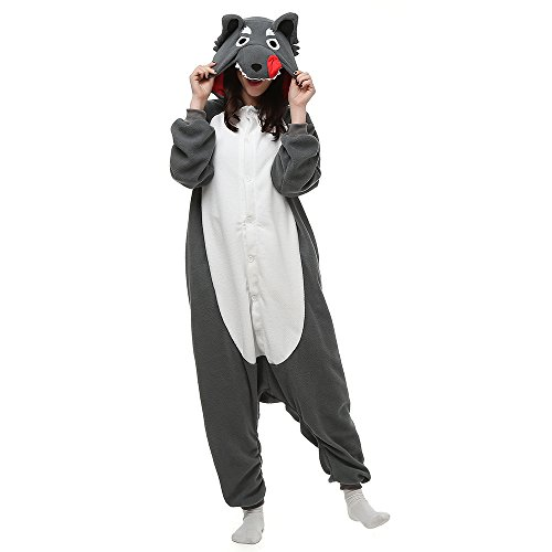 Silver_river Unisex Adult Halloween Tier Onesie Pyjama Kostüm Kigurumi Wolf Schlafanzug Erwachsene Tieroutfit Jumpsuit