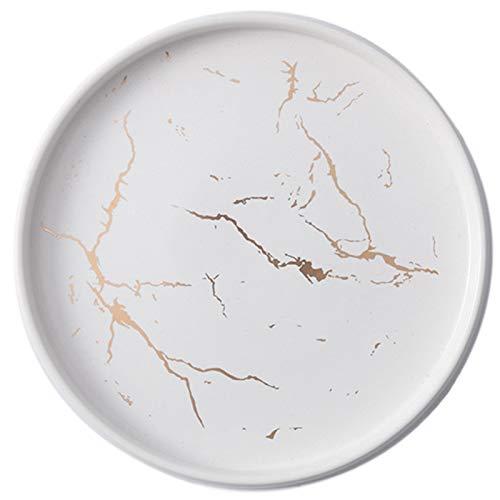 Huante Plato de CeráMica de MáRmol Blanco Dorado de 20 Cm Juego de Cubiertos de Porcelana Mesa de Cocina Plato de Filete Postre Decorativo Europeo