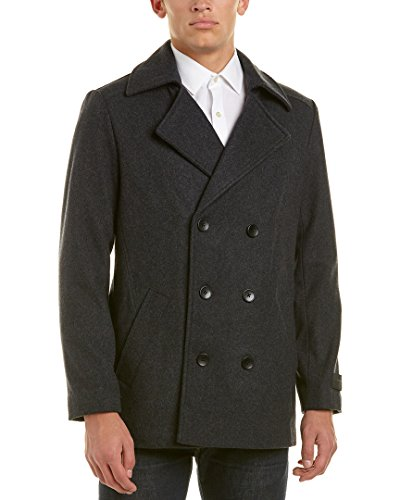 Ike Behar Men's Abrams PEA Coat, Charcoal, X-Large