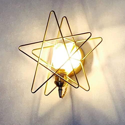 YONGYONGCHONG lámpara de Pared Luz de Noche latón labrado Hierro Estrella Luna Dormitorio Dormitorio Sala de Estar Fondo Pared balcón Escalera Pasillo Ligero iluminación (Color : A)