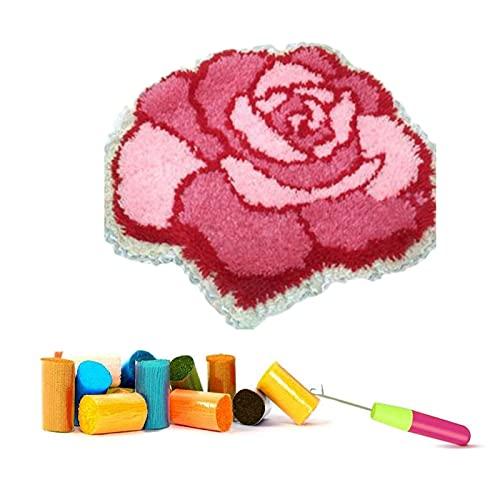 ZYUN Rose Kit Ganchillo Kit Gancho retención for Adultos cojín Grande Latch Hook Kit DIY Rose Arte...