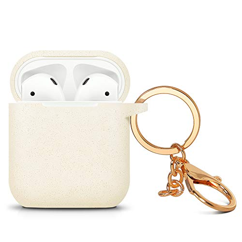 ZALU Compatible for AirPods Case with Keychain, Shockproof Protective Premium Silicone Cover Skin for AirPods Charging Case 2 & 1 (AirPods 1, Glitter Gold)