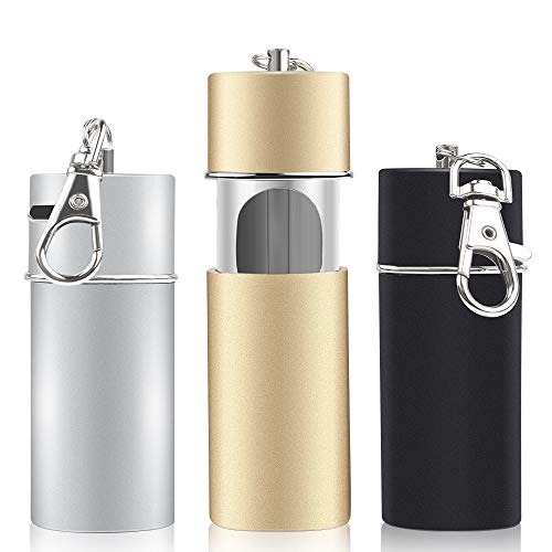 3 pezzi Posacenere portatile Mini posacenere Sigaretta tascabile Portacenere portatile Posacenere portatile Portachiavi per esterni Viaggi indoor Uso Nero argento e oro