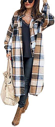 Damen Kariertes Taschen Knöpfen Langarm Oversize Bluse Mantel Lange Jacke Hemdjacke Holzfällerjacke Mode Boyfriend Jacken (XXL,Brown)