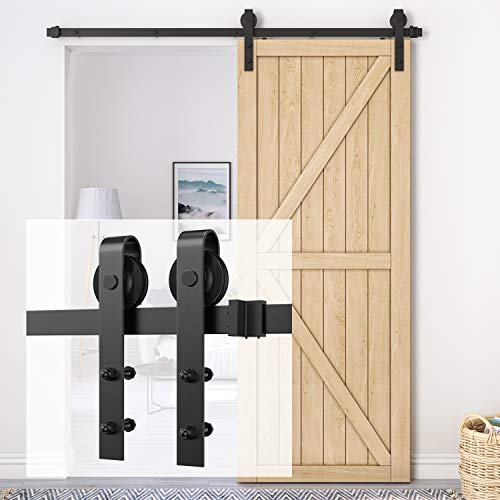 Homlux 6ft Heavy Duty Sturdy Sliding Barn Door Hardware Kit Single Door - Smoothly and Quietly -...