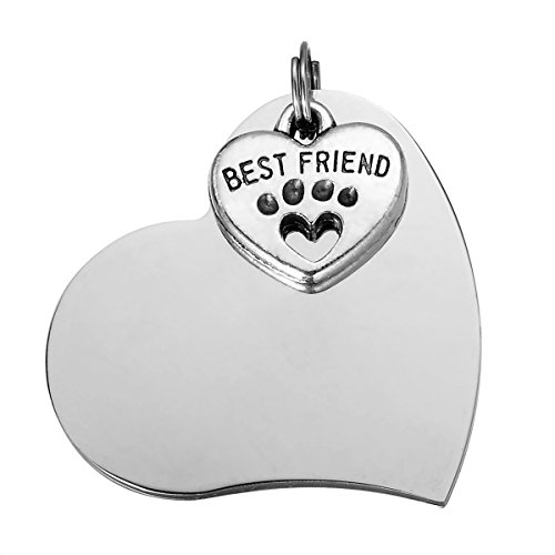 Stainless Steel Pet ID Tags Dog Tags Personalized & Engraved Custom Identification Tag Engraved Front & Back Dog Collar Tag with Best Friend Heart Pendant