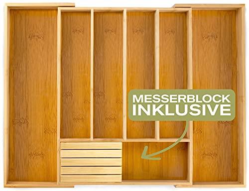 Momex Besteckkasten fur Schubladen aus 100% Bambus - ausgezogen 55 x 44,5 x 5cm (LxBxH) /mit praktischem MESSERBLOCK gratis