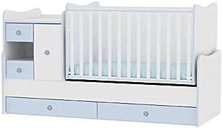 Lit bébé évolutif/ combiné MiniMax 3en1 Lorelli blanc/bleu (le lit bébé se transforme en: bureau, armoire, lit d'adolescen...