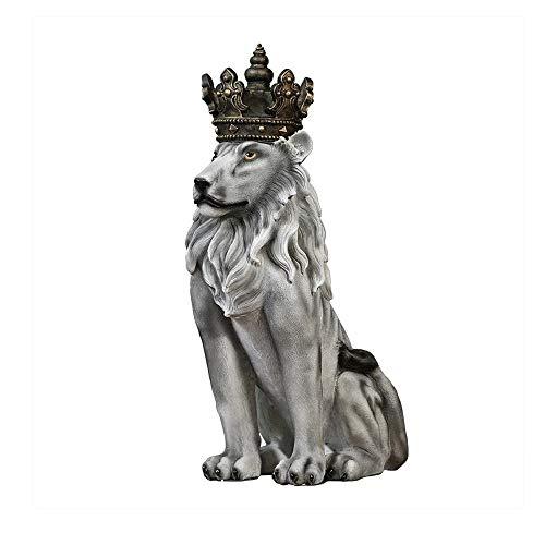 "N / C Estatua de león de Piso a la Moda, 30"", Figura de Piedra de Resina, Rey, Corona Ligera, Escultura de Estatua de león, decoración del hogar, Gris"